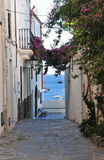 Street in Cadaques. Cadaques is the village of Salvador Dali, in Costa Brava, Gerona, Catalonia, Spain Royalty Free Stock Images