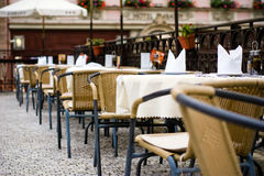 Street cafe. In Karlovy Vary, Czech Republic stock image