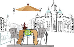 Street cafe. Travelling, street cafe in the center of the city stock illustration