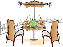 Street cafe. Traveling, so nice to go to the outdoor café - a sketch Royalty Free Stock Images