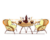 Street cafe. Traveling, so nice to go to the outdoor café - a sketch Royalty Free Stock Photos