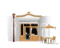 Street cafe. Stylized street cafe in the old part of the city stock illustration