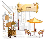 Street cafe. Series of street cafes in the city royalty free illustration