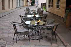 Street cafe. In the old town of kaunas, lithuania Stock Photography