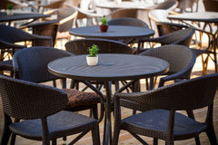 Street cafe. With dark furniture Royalty Free Stock Photos