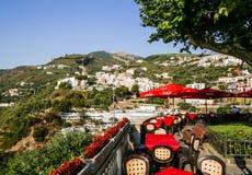 A street cafe. The Amalfi Coast near Vico Equense. Italy Royalty Free Stock Photo