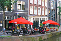Street cafe in Amsterdam. Stock Photo