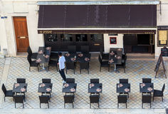 Street cafe as seen from above Stock Image