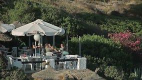 Street cafe on the beach. Spanish beaches in Cala Mendia. Mallorca