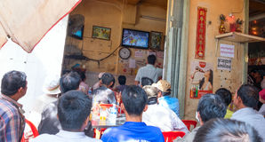 Street cafe is broadcast Thai Boxing Royalty Free Stock Image