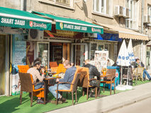 Street cafe in the center of the Bulgarian capital Royalty Free Stock Photos