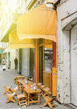 Street cafe with chairs on the streets of Paris Stock Photo