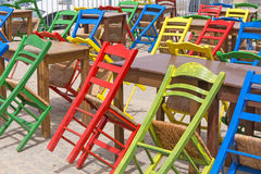 Street cafe chairs tables colors Royalty Free Stock Image