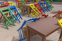 Street cafe chairs tables colors Royalty Free Stock Photography