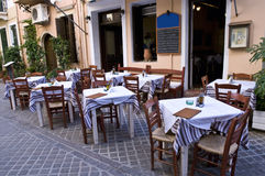 Street Cafe in Chania, Crete, Greece Stock Photography