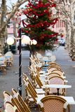 Street cafe at Christmas Stock Photo