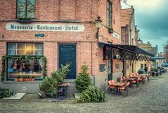 Street cafe in Christmas Brugge stock photos