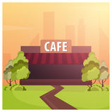 Street Cafe. Coffeeshop. City cafe. Flat design concept. Vector illustration. Royalty Free Stock Image