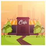 Street Cafe. Coffeeshop. City cafe. Flat design concept. Vector illustration. Stock Photo