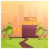 Street Cafe. Coffeeshop. City cafe. Flat design concept. Vector illustration. Stock Image