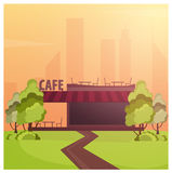 Street Cafe. Coffeeshop. City cafe. Flat design concept. Vector illustration. Stock Photography