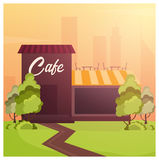 Street Cafe. Coffeeshop. City cafe. Flat design concept. Vector illustration. Stock Images