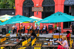 Street cafe in Colonia del Sacramento, Uruguay Royalty Free Stock Images