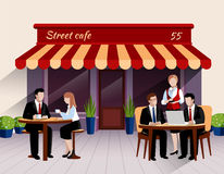 Street cafe customers flat banner illustration Stock Image