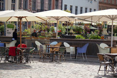 Street cafe in downtown of Riga Stock Images