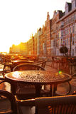 Street cafe early morning Royalty Free Stock Photo