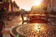 Street cafe early morning Royalty Free Stock Image