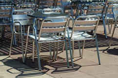 Street Cafe empty chairs Royalty Free Stock Images
