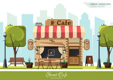 Street Cafe. Flat design concept Stock Images