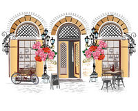Street cafe with flowers in the old city. Series of backgrounds decorated with flowers, old town views and street cafes. Hand drawn Vector Illustration vector illustration