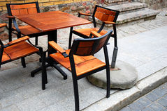 Street cafe furniture in Poland Royalty Free Stock Image