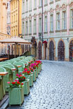 Street cafe in the historical district of Prague Royalty Free Stock Image