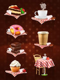 Street Cafe Icons Royalty Free Stock Photography