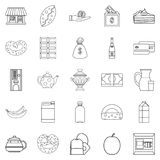 Street cafe icons set, outline style Stock Images