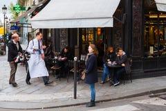 Street cafe on the Ile Saint Louis, Paris, France Stock Photos