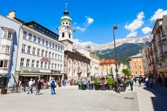 Street cafe in Innsbruck. INNSBRUCK, AUSTRIA - MAY 22, 2017: Street cafe located in Altstadt Old Town of Innsbruck, Austria. Innsbruck is the capital city of Royalty Free Stock Photography