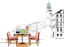 Street cafe in Italy royalty free illustration