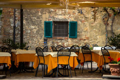 Street cafe at the Italy. Tables and chairs of street cafe at the Italy stock image