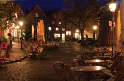 Street cafe at late autumn  near of the old hanse-harbor of Stade. Stock Images