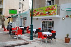 Street cafe in Loutraki. Royalty Free Stock Images