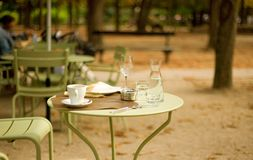 Street cafe in the Luxembourg garden royalty free stock photos