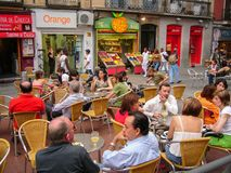Street cafe in Madrid, Spain Royalty Free Stock Image