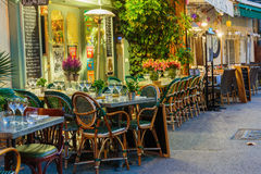 Street cafe in Mougins at night, France Royalty Free Stock Images