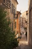 Street and cafe at Nafplio town stock images