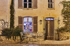 Street cafe at night in France Stock Images