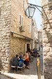 Street cafe in old Budva, Montenegro Royalty Free Stock Photo